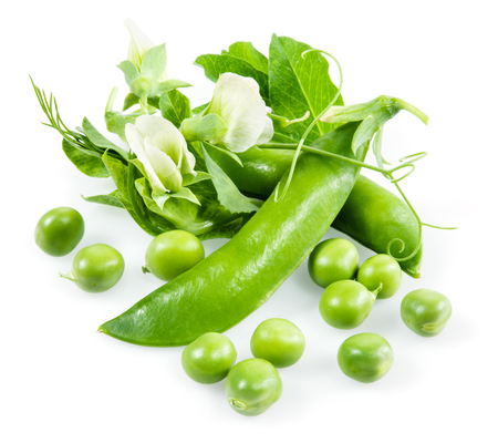 green pea: Fresh green peas isolated on a white background Stock Photo