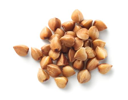 Buckwheat grain isolated on white background.