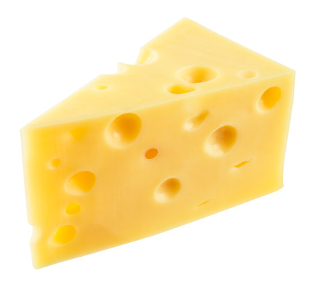 Piece of cheese isolated. With clipping path.