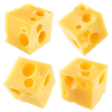 Cube of cheese isolated on a white background. Collection. With clipping path. Stock Photo