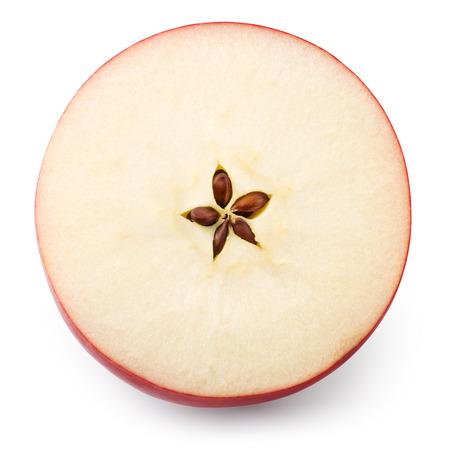 アップル。リンゴのスライスは、白で隔離。平面図です。