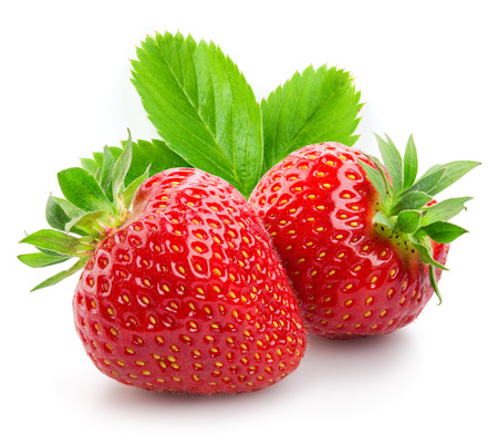Two strawberries close up on white background Standard-Bild