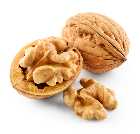 Walnut isolated. Walnuts isolated on white background. With clipping path. Banque d'images