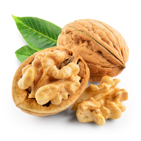 Walnuts with leaves isolated. Walnut on white. With clipping path.