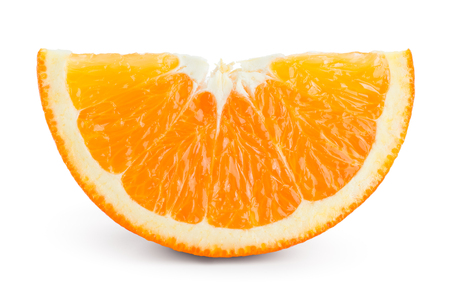 Orange slice isolated. Orange fruit on white.