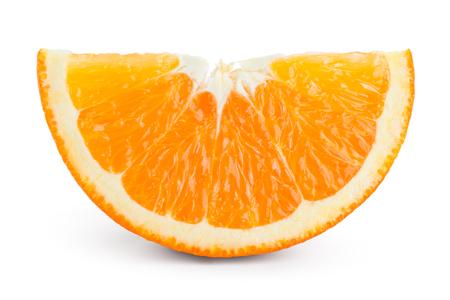 Orange slice isolated. Orange fruit on white.