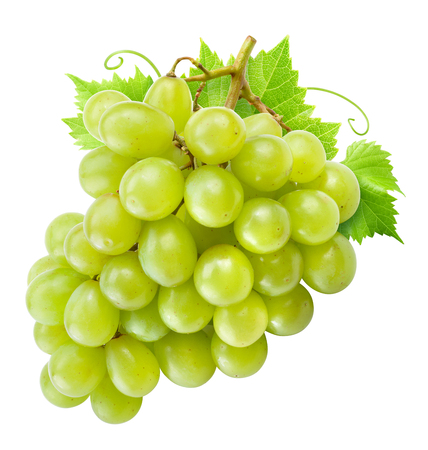 Grape isolated. Green grapes with leaves on white.