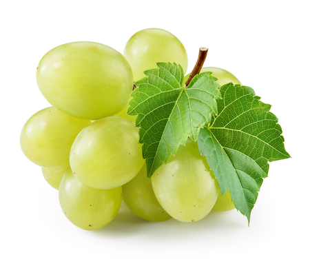 Green grape with leaf isolated. Grapes on white. With clipping path. Stock Photo