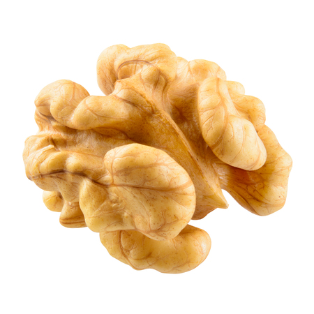Walnut kernel isolated on white background. With clipping path.