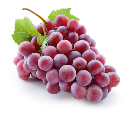 Grape. Red grape with leaves isolated on white. With clipping path. Full depth of field.