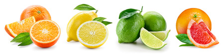 Fruit compositions with leaves isolated on white background. Orange, lemon, lime, grapefruit. Collection.