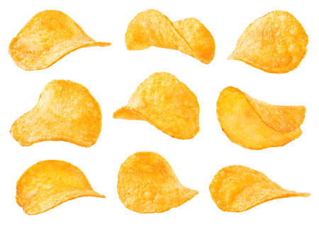 Potato chips isolated on white background. Collection. Stock Photo