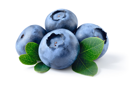 Blueberry. Fresh raw berries with leaves isolated on white 스톡 콘텐츠