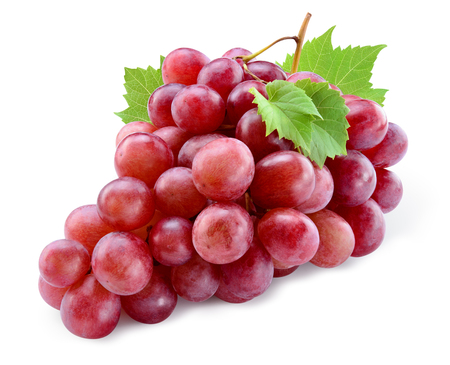 Ripe red grape. Pink bunch with leaves isolated on white. With clipping path. Full depth of field. 版權商用圖片