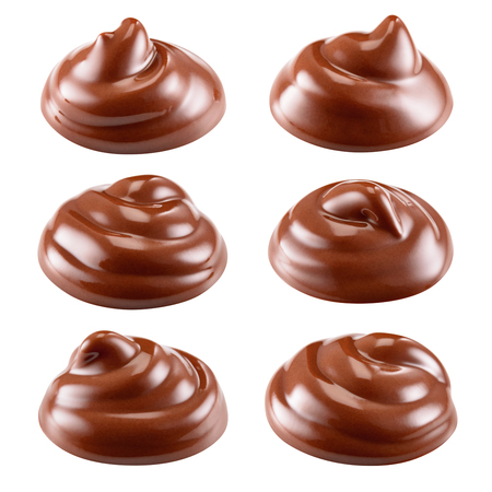 Chocolate. Sweet hot melted sauce. Swirl isolated on white background. Collection. With clipping path. Full depth of field.
