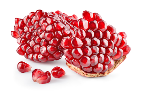 Pomegranate. Fresh raw peeled fruit. Piece of pomegranate isolated on white