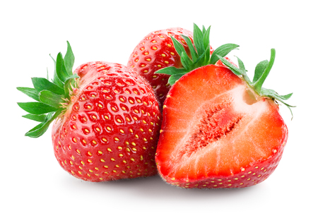 Strawberry. Fresh raw three berries with a cut isolated on white Stock fotó