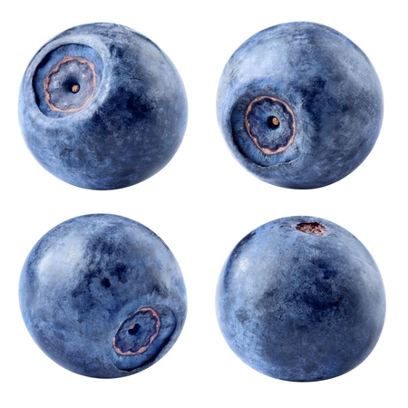 Blaubeere isoliert. Blaubeeren auf weißem Hintergrund. Mit Beschneidungspfad. Sammlung. Standard-Bild