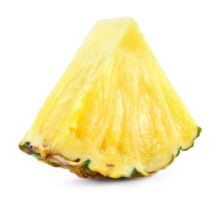 Pineapple slice. Pineapple isolated on white. Fresh pineapple.