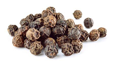 Peppercorns. Black pepper. Peppercorn isolated on white. Macro. Shallow depth of field.