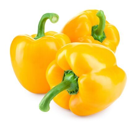 Paprika. Yellow pepper. Sweet bell peppers isolated.  With clipping path. Full depth of field.