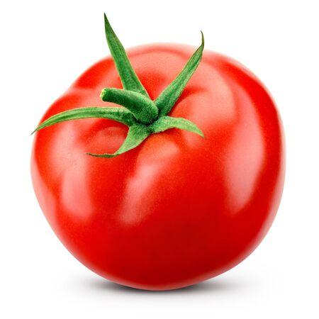 Tomaat die op wit wordt geïsoleerd