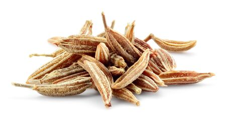 Cumin seeds macro. Caraway isolated on white background.