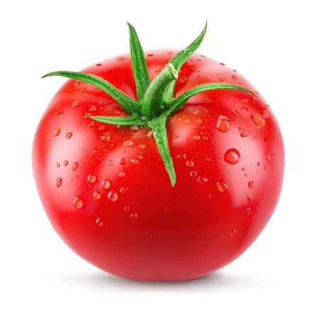 Tomato. Tomato with drops isolated on white.