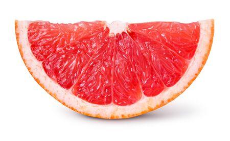 Grapefruit segment geïsoleerd. Grapefruitplak op wit. Uitknippad.