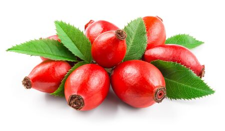 Rosehip. Rosehip isolated on white. Berries with leaves.
