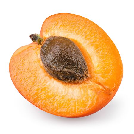 Apricot isolate. Apricot slice top view. Fresh apricot fruit on white background isolated with clipping path Reklamní fotografie