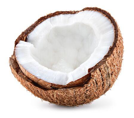 Kokosnoot half geïsoleerd. Kokos isolaat. Volledige scherptediepte. Stockfoto