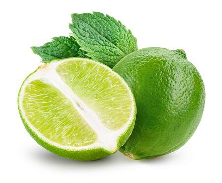 Chaux isolée. Lime à la menthe isoler sur blanc.