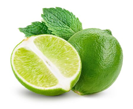Lime isolated. Lime with mint isolate on white.