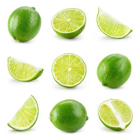 Chaux isolée. Demi citron vert, tranche, morceau isolé sur blanc. Ensemble de chaux.
