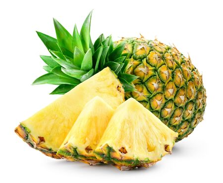 Whole pineapple and pineapple slice. Pineapple with leaves isolate on white. Full depth of field.