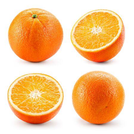 Orangenfrucht getrennt auf Weiß. Orangen-Isolat. Orangensatz.