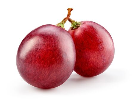Red grape. Two grape berries isolated. Grapes on white. Macro. With clipping path. Full depth of field. Stock Photo