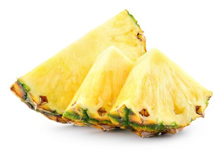 Pineapple slices and a half of pineapple ring. Pineapple isolate on white. Clipping path. Full depth of field