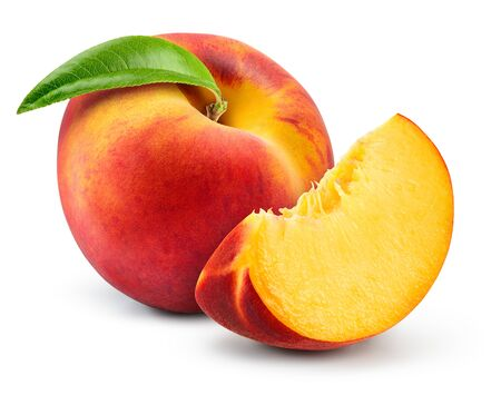 Peach with leaf on white