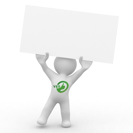 voting hands: cute person with blank card with yes written on him in green Stock Photo