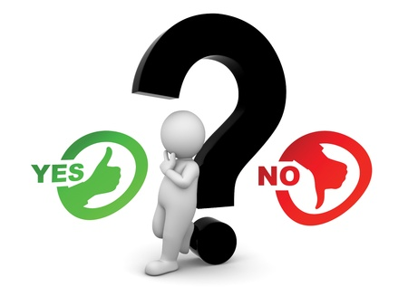 man confused between yes and know making a choice with question in between