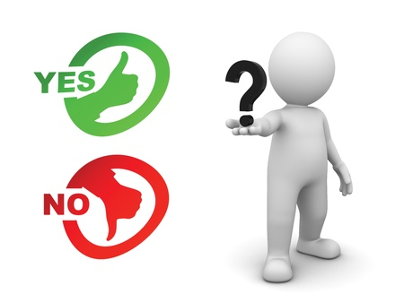 vote button: man asking the question yes or know with question mark in hand