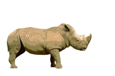 rhino   in artistic cutout style in front of a white background