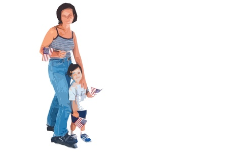 Mother and child holding american flags cutout art illustration