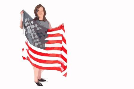 Woman holding american flag cutout art illustration
