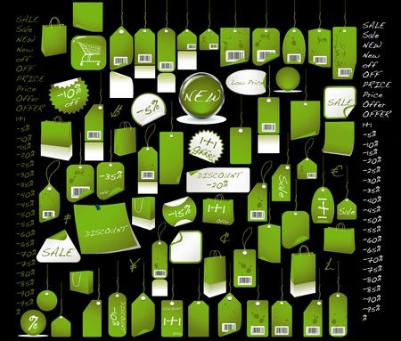 Sale  tags light green  colour with all the percentages and discount signs Stock Photo