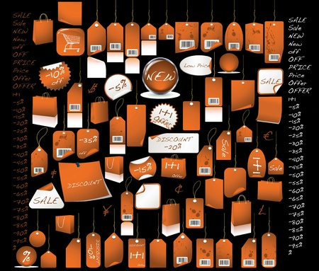 Sale  tags orange  colour with all the percentages and discount signs Stock Photo
