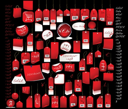 Sale  tags  red colour with all the percentages and discount signs Stock Photo