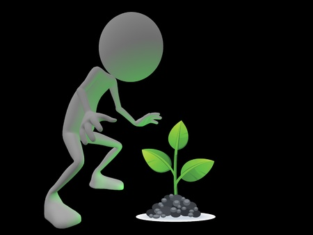 Character looking at a green glowing plant with awe